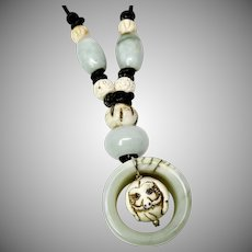 Green Jade Archer's Ring Carved Bone Dog Pendant Necklace