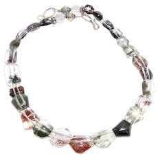 Multicolored Faceted Lodalite, Sterling Silver Necklace