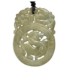 Green Carved Serpentine Jade Triple Dragon Pendant Necklace