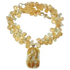 Carved Golden Jade Double Fish with Citrine and Aquamarine Drops Necklace