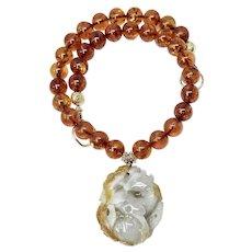 Carved Jade Deer with Golden Baltic Amber Necklace