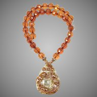 Carved Golden Jade Dragon, Faceted Amber Necklace