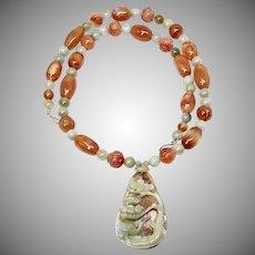 Carved Jade Stork, Carved Carnelian Necklace