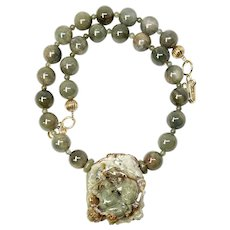 Carved Green Jade Dragons, Green Rutilated Quartz Necklace