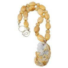 Carved Golden Jade Longevity God, Golden Agate Necklace