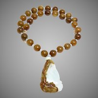 Carved Jade Dragon and Serpentine Jade Necklace and Earrings