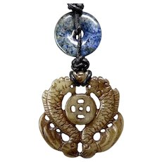 Carved Jade Double Dragons, Lapis Pendant Necklace