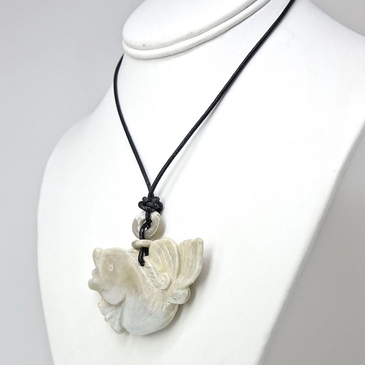 Carved white jade fish pendant necklace carol barrett jewelry carved white jade fish pendant necklace aloadofball Images