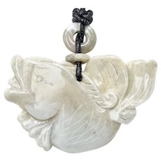 Carved White Jade Fish Pendant Necklace