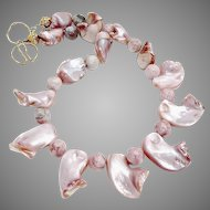 Pink Mother Of Pearl Shell Drops, Pink Jasper Necklace