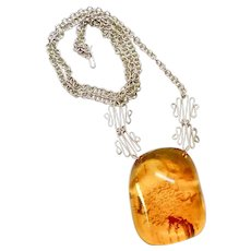 Vintage Natural Baltic Amber on a Silver Chain Necklace