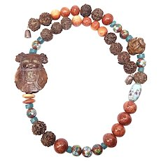 Chinese Caved Wood Lady, Red Apple Coral and Vintage Peach Stone Prayer Bead Necklace