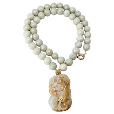 Carved Natural Jade Dragon, Lotus with Green Burmese Jade Necklace
