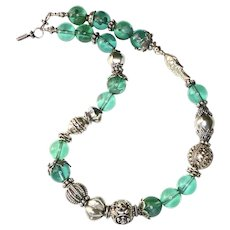 Bright Green Obsidian with Vintage Chinese Silver Necklace