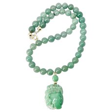 Carved Natural Green Jade Bat & Peach, Jade 14k Gold