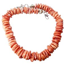 Chunky Natural Orange Coral Necklace