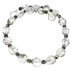 Faceted Clear and Green Lodalite Nugget Necklace