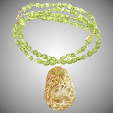 Hand Carved Golden Jade Dragon with Gem Quality Peridot Necklace