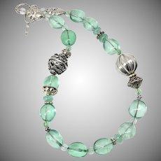 Green Fluorite Nugget, Vintage Silver Necklace