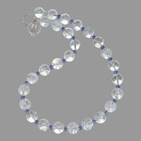 Cracked Crystal, Faceted Blue Swarovski Crystal Necklace
