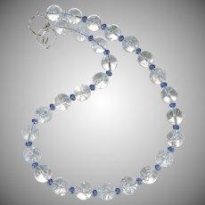 Cracked Crystal, Faceted Blue Swarovski Crystal Necklace