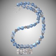Indonesian Silver, Blue Indonesian Glass Necklace