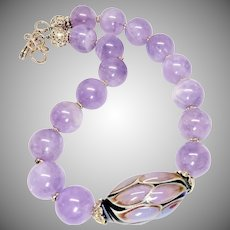 Lavender Amethyst, Hand Blown Glass Bead Necklace