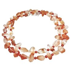 Faceted Hematoid Quartz, Carnelian Double Strand Sterling Silver Necklace