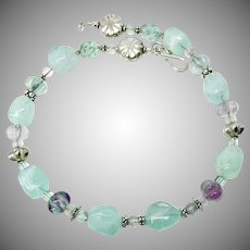 Green Fluorite Nuggets and Lavender Rainbow Fluorite Melon Beads Necklace