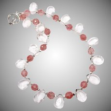 Clear Crystal Drops, Faceted Pink Crystal Necklace