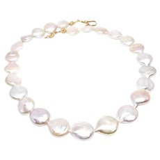 Large Gorgeous Creamy Iridescent Coin Pearl Necklace