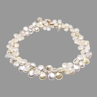 Spectacular Silvery White Top Quality Multi Coin Pearl Necklace