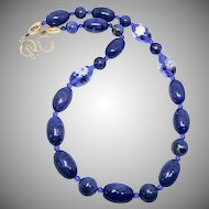 Top Quality Natural Blue Lapis with Vintage Venetian Glass Flower Necklace