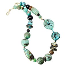 Gorgeous Large Vintage Chinese Turquoise Bead Necklace
