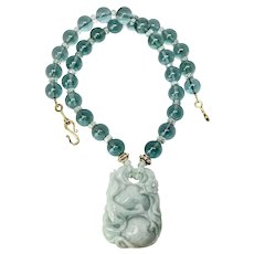 Carved Green Jade Dragon with Green Obsidian Necklace