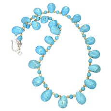 Awesome Aqua Turquoise Magnesite Teardrops Necklace