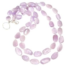 Tumbled Pink Kunzite Double Strand Necklace