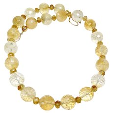 Large Quality Faceted Citrine Necklace