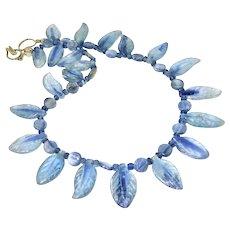 Blue Iridescent Kyanite Fancy Petal Necklace