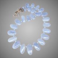 Blue Chalcedony Fancy Drop Necklace