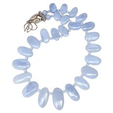 Blue Chalcedony Fancy Drop Necklace