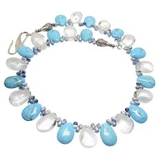 Clear Crystal Quartz and Turquoise Magnesite Drop Necklace