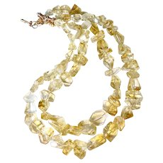 Faceted Golden Citrine Double Strand Nugget Necklace