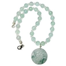 Carved Translucent Green Jade with Faceted Green Fluorite Necklace