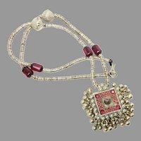 Vintage Indian Tribal Silver Pendant Necklace