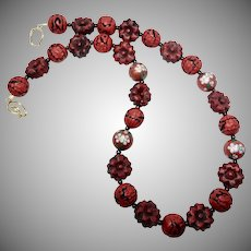 Vintage Chinese Cloisonne and Red  Carved Cinnabar Necklace