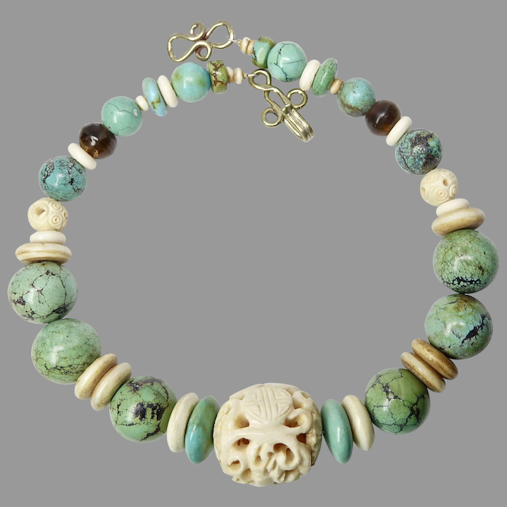 Carved Bone And Natural Chinese Turquoise Necklace Carol Barrett Jewelry Ruby Lane
