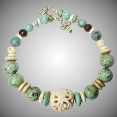 Carved Bone and Natural Chinese Turquoise Necklace