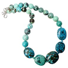 Dramatic Vintage Large Natural Turquoise Necklace - 20""