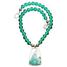 Antique Qing Dynasty Porcelain Shard, Vintage Indonesian Glass Necklace